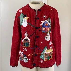 Ugly Christmas cardigan sweater houses snowmen